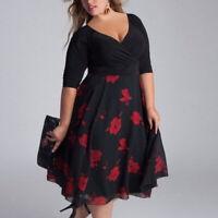 Plus Size L-3XL Women Black Short Sleeve Party Cocktail Casual Mini Dress