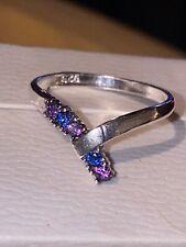 Sterling Silver Vintage Design Sapphire & Amethyst Wishbone Ring N