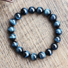 Natural Blue Tiger's Eye Gemstone Round Beads Bracelet AAAA 10 mm