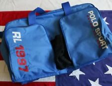 RARE! VINTAGE 1997 POLO SPORT DUFFLE TRAVEL GYM BAG SPELL OUT USA FLAG RED BLUE
