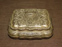 "VINTAGE 7 1/4"" X 6"" X 2 3/4"" HIGH RED VELVET LINED JEWELRY TRINKET METAL BOX"