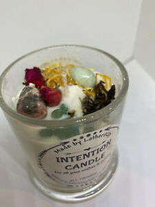 Intention Candle/Set your own Intention/Soy Wax/Crystal & Herb Candle