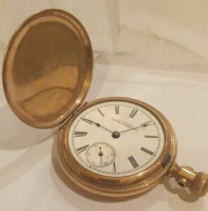 99p No Reserve ANTIQUE gold plated POCKET WATCH WALTHAM FULL HUNTER am watch co