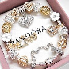 Authentic Pandora Charm Bracelet SILVER & GOLD LOVE HEART European Beads~NIB