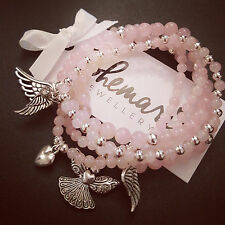 Rose quartz angel wing stack bracelets gemstone protection bijoux jewellery boho