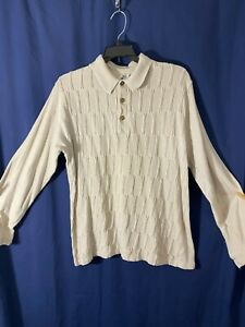 1960's Casual Shirt by Walker Ltd - M- Beige Knit- VG- VINTAGE COOL