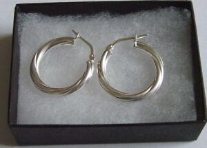 New 925 Sterling Silver Twisted 20mm Creoles Earrings Hoops Earings & Gift Box