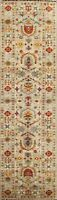 3x10 Floral Ziegler Oriental Runner Rug Hand-Knotted Vegetable Dye Wool Carpet