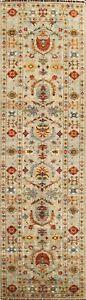3x10 Floral Ziegler Oriental Runner Rug Hand-Knotted Vegetable Dye Wool Carpet