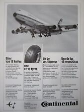 4/72 PUB CONTINENTAL PNEU AVIATION AIRCRAFT TYRE BOEING 747 LUFTHANSA FRENCH AD