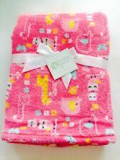 "Baby Gear Soft Plush Fleece Blanket Pink Animals Asst Size 30""x 30"