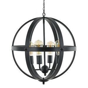 MM, 4-Light LED Edison Large Metal Cage Orb Globe Island Pendant Chandellier