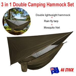 3in1 Double Camping Hammock Tent Mosquito Net Waterproof Rain Tarp Shelter Cover