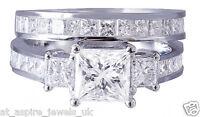 3.60 CT THREE STONE PRINCESS SHAPE ENGAGEMENT RING & WEDDING BAND 14K WHITE GOLD