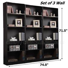 Bookcase Black 5 Shelf Set of 3 pcs Wall Bookshelf Adjustable Shelves