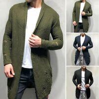Herren Grob Zopfmuster Pullover Warm Strickjacke Mantel Strick Oberbekleidung