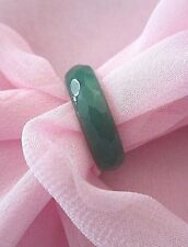 Beautiful GREEN FACETED AGATE RING - Natural Stone - 5 mm wide - size 8 - Q