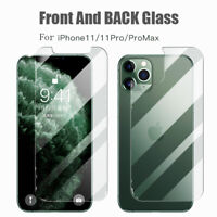 For iPhone 11 Pro Max Front + Back Tempered Glass Screen Protectors Film Lots UK