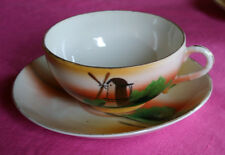 CHIKARAMACHI TEA/coffee CUP/SAUCER SET-JAPAN Hand Painted VNTG antique Porcelain