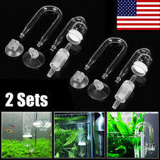 2 Set Tank Aquarium Plants CO2 Diffuser Check Valve U Shape Glass Tube Suction
