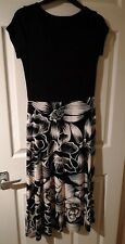 Monsoon Madeline Black and White Floral Stretchy Midi Dress Size 8 Bnwt