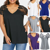 Plus Size Women Lace Sheer Short Sleeve T-Shirt Top V Neck Loose Blouse Casual