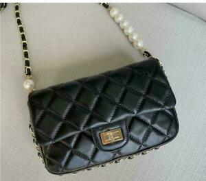 Womens Luxury Real Leather  Quilted Metal Chain  Pearls Strap Shoulder Bag