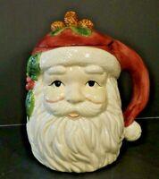 Beautiful Holiday Vintage Santa Head Ceramic Cookie Jar by Holly Tree
