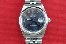 mans Rolex Datejust 16014, stainless/white gold, premium blue dial, serviced, bo