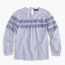 J Crew Womens Tiered top in mixed stripes G7012 Blue White 12