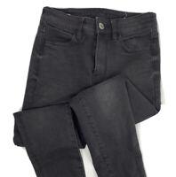 American Eagle Hi-Rise Jegging Crop Jeans Super Stretch Vintage Black Women Sz 2
