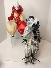 2 Vtg Porcelain Clown Dolls Schmid Doll House And Carsus Co. 17� Dolls