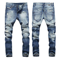 Men Ripped Destroyed Skinny Runway Straight Elastic Slim Denim Biker Jeans Pants