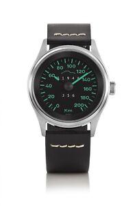 Bergmann Tachometer Uhr Porsche 356 Pre A Modell 2 Tacho 04 schwarzes Glattleder