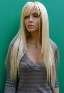 100% Human Hair!New Arrival Long Silky Straight Bleach Blonde Hair 28 Inches Wig