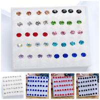 20 Pairs/pack 2016 Rhinestone Crystal Piercing Stud Earrings Red Mix Color