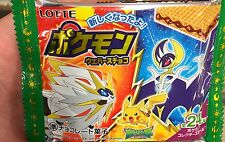 LOTTE Japan POKEMON SUN MOON Chocolate Wafers 6 packs + collectable sticker