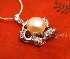 """and 20mm Flower Pendant 17"""" necklace-nec6255 Sale 10-11mm Pink Flat Round Pearl"""