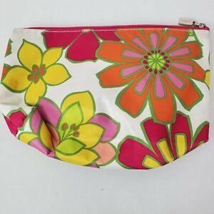 Clinique Womens Orange Pink Floral Makeup Case Bag Travel Lightweight Zip