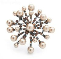 Elegant Vtg Style Large Champagne Faux Pearl CZ Silver Tone Floral Flower Brooch