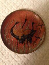 "Asian multi~color cloisonné Enamel over Brass 3~ Birds Plate; 6 3/4"" hanging tab"