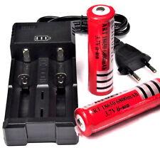 6 x 6800 mAh 3,7 V Lithium Ionen Akku 18650 + Doppel - Universal - Ladegerät rot