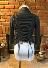 BOHO Urban CHIC Gray Draping Open-Front Back Cinch Tie Laying Jacket Top S / M*