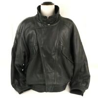 Direction Leather Jacket Mens Size 48 Black DISTRESSED Soft Zip-front