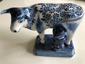 MAKKUM  Kuh mit Melker Royal Tichelaar Makkum Keramik Blau-weiß