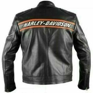 Men Real Cowhide HD Harley Davidson Goldberg Motorcycle Biker Leather Jacket