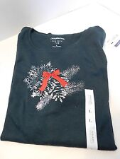 Croft & Barrow Classic Long Sleeve Tee Shirt Forest Green with pine cones Sz Lg