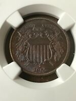 :1865 2C TWO-CENT-PIECE KEY-DATE NGC MS-64-BN RARE LOW-POP HIGHEST-GRADES
