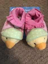 Carter's Just One Year Pink & Green Duck Slippers Newborn (0-6M)