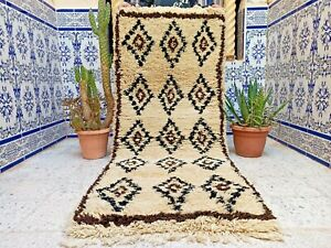 "Vintage Moroccan Rug Handmade Azilal Carpet Wool Tribal Kilim Berber 6'9"" x 2'4"""